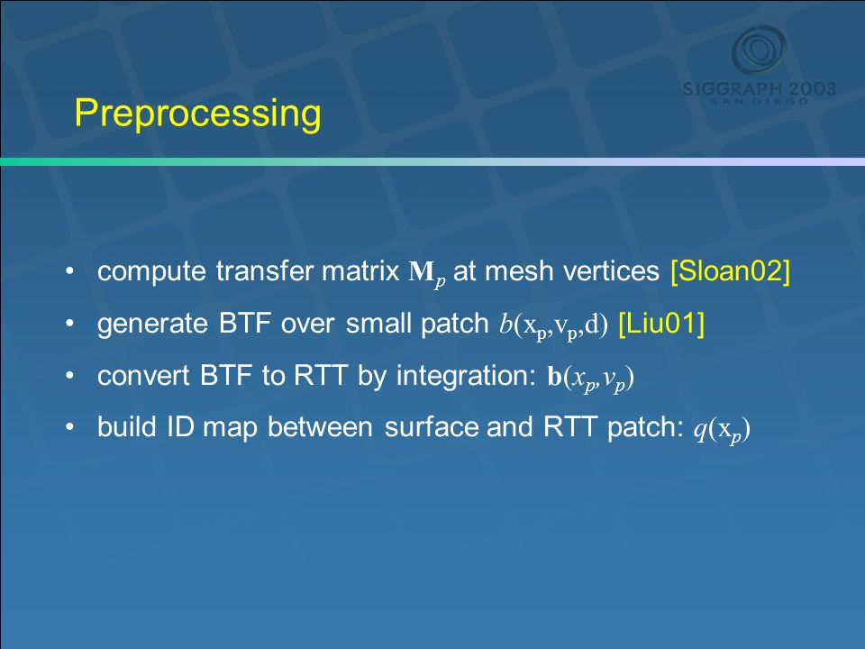 Preprocessing compute transfer matrix M p at mesh vertices [Sloan02] generate BTF over small patch b(x p,v p,d) [Liu01] convert BTF to RTT by integration: b(x p,v p ) build ID map between surface and RTT patch: q(x p )
