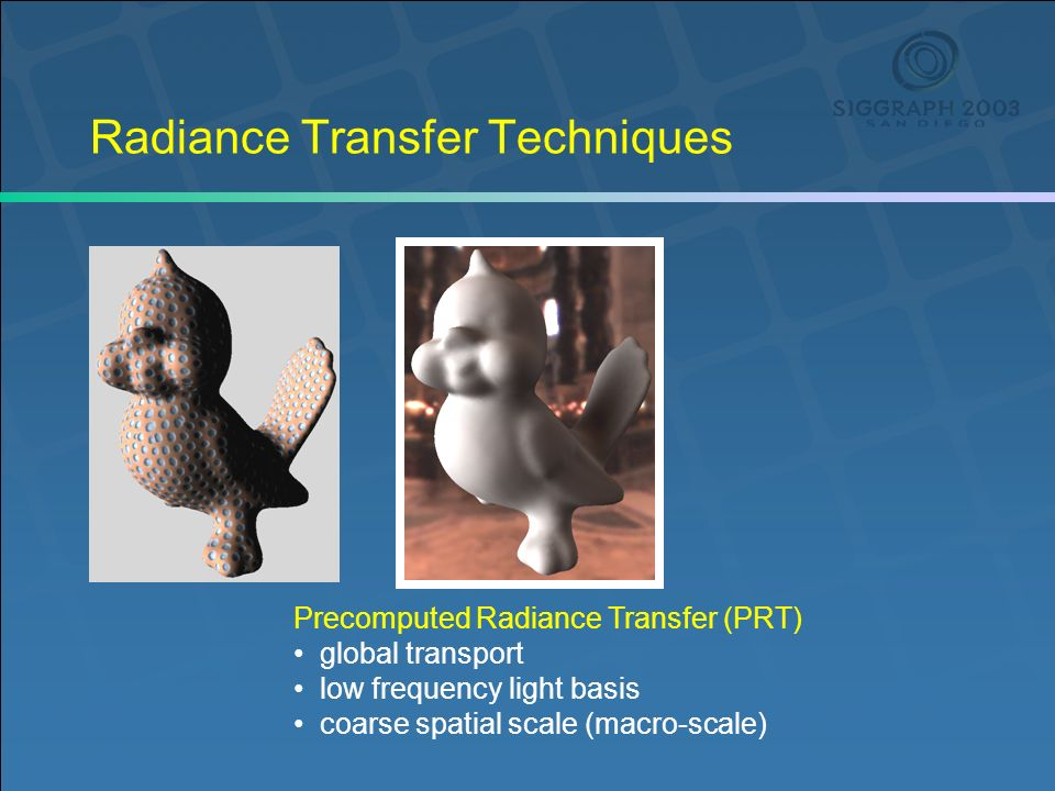 Radiance Transfer Techniques Precomputed Radiance Transfer (PRT) global transport low frequency light basis coarse spatial scale (macro-scale)