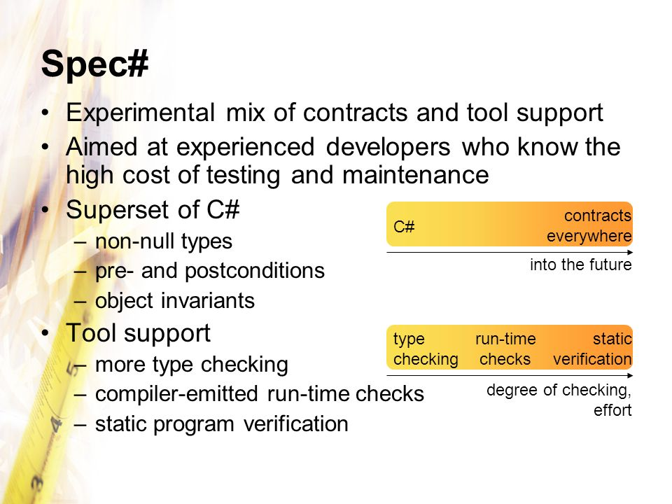Spec# Experimental mix of contracts and tool support Aimed at experienced developers who know the high cost of testing and maintenance Superset of C#
