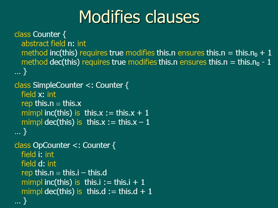 Modifies clauses class Counter { abstract field n: int method inc(this) requires true modifies this.n ensures this.n = this.n method dec(this) requires true modifies this.n ensures this.n = this.n … } class SimpleCounter <: Counter { field x: int rep this.n this.x mimpl inc(this) is this.x := this.x + 1 mimpl dec(this) is this.x := this.x – 1 … } class OpCounter <: Counter { field i: int field d: int rep this.n this.i – this.d mimpl inc(this) is this.i := this.i + 1 mimpl dec(this) is this.d := this.d + 1 … }