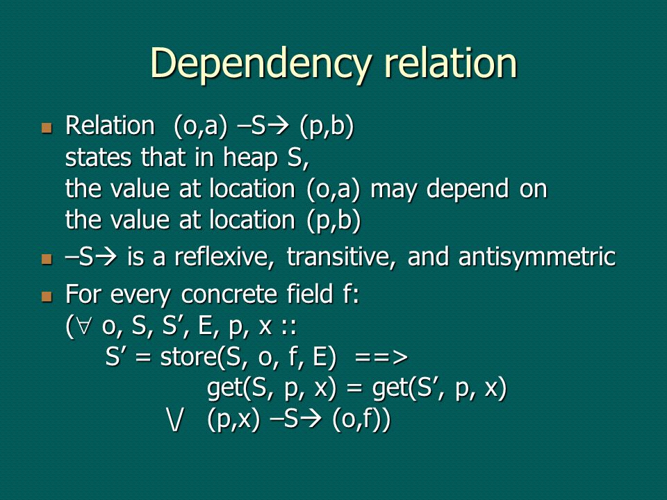 Dependency relation Relation (o,a) –S (p,b) states that in heap S, the value at location (o,a) may depend on the value at location (p,b) Relation (o,a) –S (p,b) states that in heap S, the value at location (o,a) may depend on the value at location (p,b) –S is a reflexive, transitive, and antisymmetric –S is a reflexive, transitive, and antisymmetric For every concrete field f: ( o, S, S, E, p, x :: S = store(S, o, f, E) ==> get(S, p, x) = get(S, p, x) \/(p,x) –S (o,f)) For every concrete field f: ( o, S, S, E, p, x :: S = store(S, o, f, E) ==> get(S, p, x) = get(S, p, x) \/(p,x) –S (o,f))