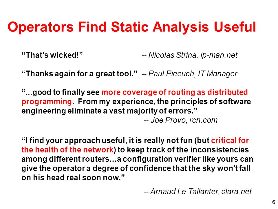 6 Operators Find Static Analysis Useful Thats wicked.