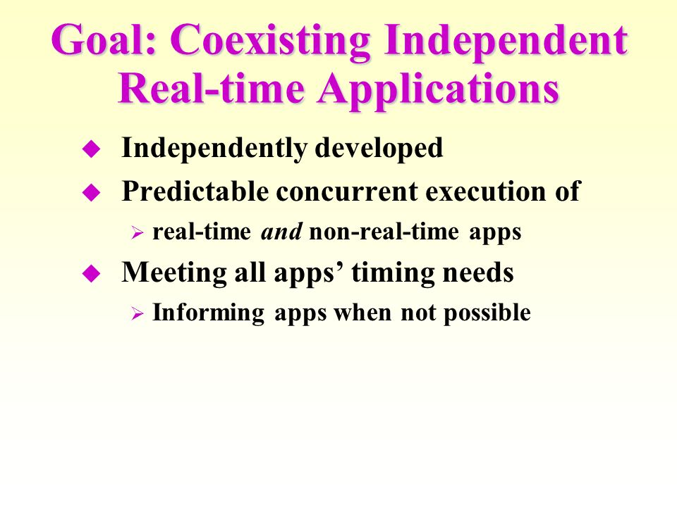Goal: Coexisting Independent Real-time Applications Independently developed Predictable concurrent execution of real-time and non-real-time apps Meeting all apps timing needs Informing apps when not possible