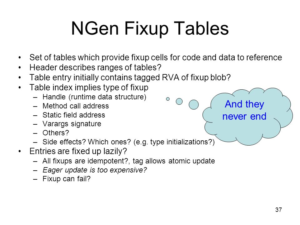 37 NGen Fixup Tables Set of tables which provide fixup cells for code and data to reference Header describes ranges of tables.