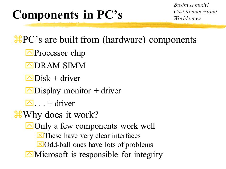 Components in PCs zPCs are built from (hardware) components yProcessor chip yDRAM SIMM yDisk + driver yDisplay monitor + driver y... + driver zWhy doe