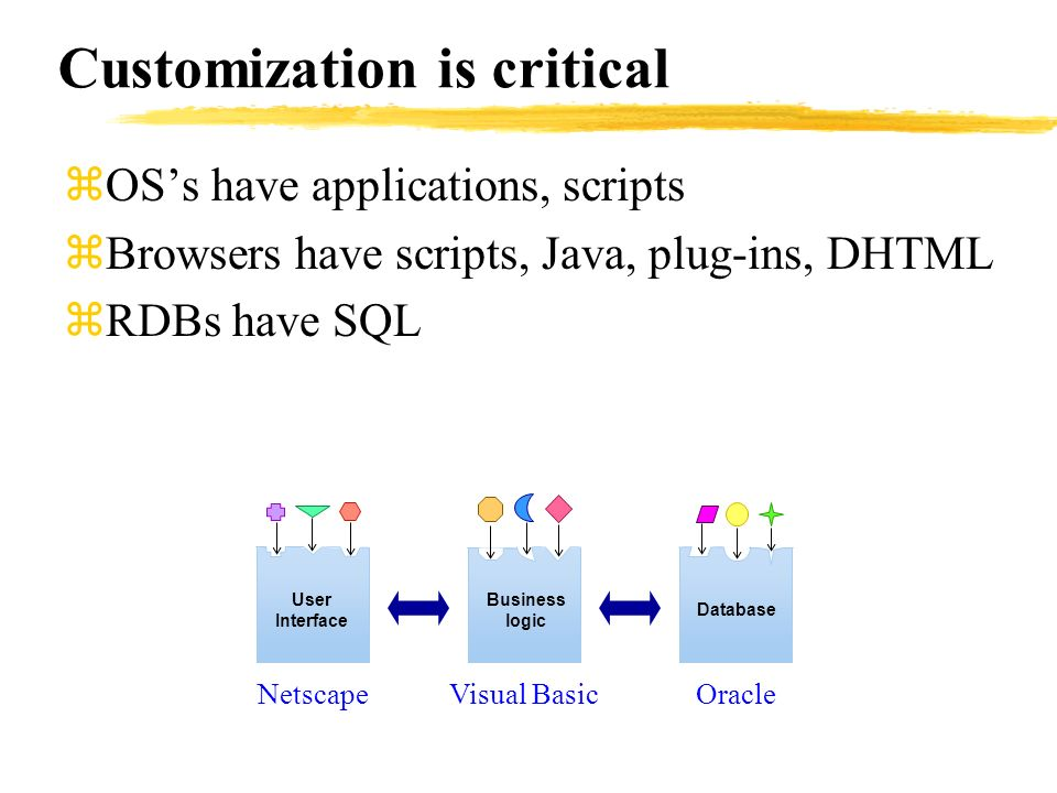 Customization is critical zOSs have applications, scripts zBrowsers have scripts, Java, plug-ins, DHTML zRDBs have SQL User Interface Business logic D
