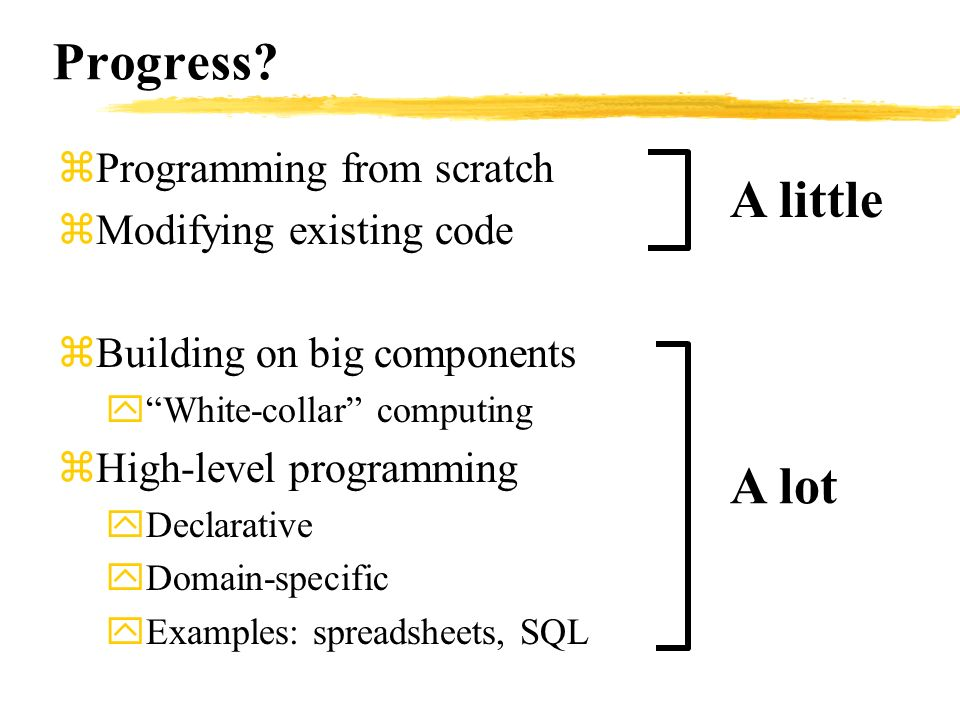 Progress? zProgramming from scratch zModifying existing code zBuilding on big components yWhite-collar computing zHigh-level programming yDeclarative