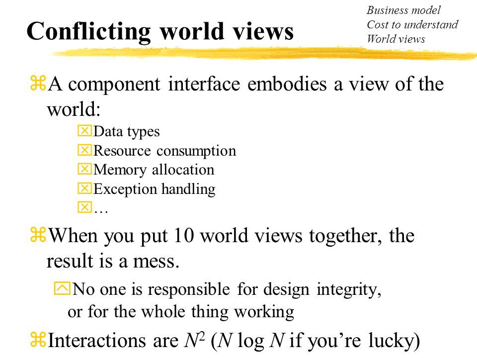 Conflicting world views zA component interface embodies a view of the world: xData types xResource consumption xMemory allocation xException handling