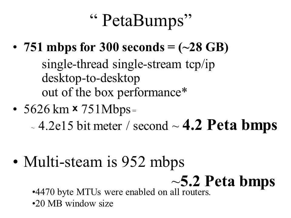 PetaBumps 751 mbps for 300 seconds = (~28 GB) single-thread single-stream tcp/ip desktop-to-desktop out of the box performance* 5626 km x 751Mbps = ~ 4.2e15 bit meter / second ~ 4.2 Peta bmps Multi-steam is 952 mbps ~5.2 Peta bmps 4470 byte MTUs were enabled on all routers.