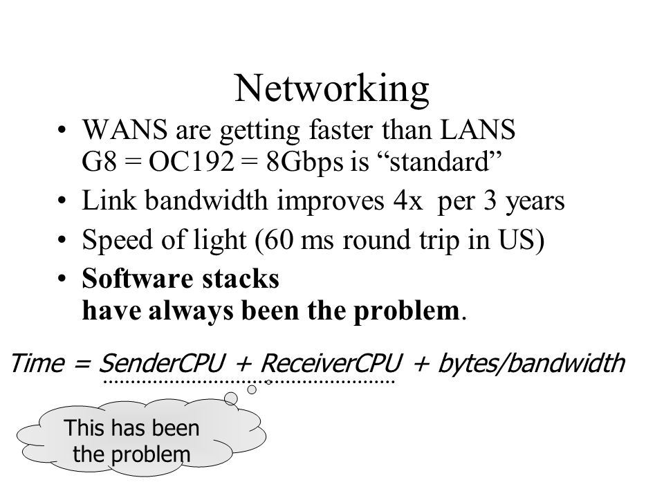 Networking WANS are getting faster than LANS G8 = OC192 = 8Gbps is standard Link bandwidth improves 4x per 3 years Speed of light (60 ms round trip in US) Software stacks have always been the problem.