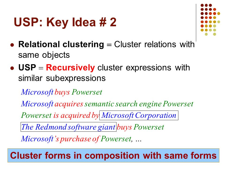 18 USP: Key Idea # 2 Relational clustering Cluster relations with same objects USP Recursively cluster expressions with similar subexpressions Microso