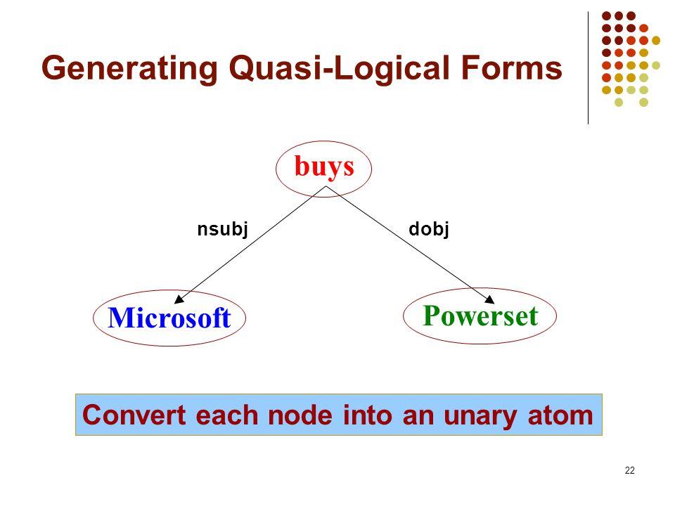 22 Generating Quasi-Logical Forms buys Microsoft Powerset nsubjdobj Convert each node into an unary atom