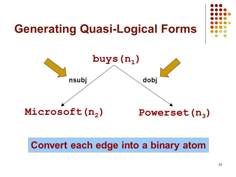 24 Generating Quasi-Logical Forms nsubjdobj Convert each edge into a binary atom buys(n 1 ) Microsoft(n 2 ) Powerset(n 3 )