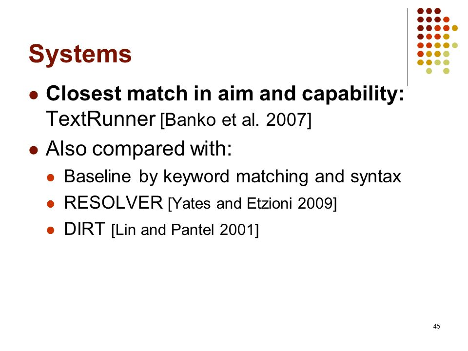 45 Systems Closest match in aim and capability: TextRunner [Banko et al. 2007] Also compared with: Baseline by keyword matching and syntax RESOLVER [Y