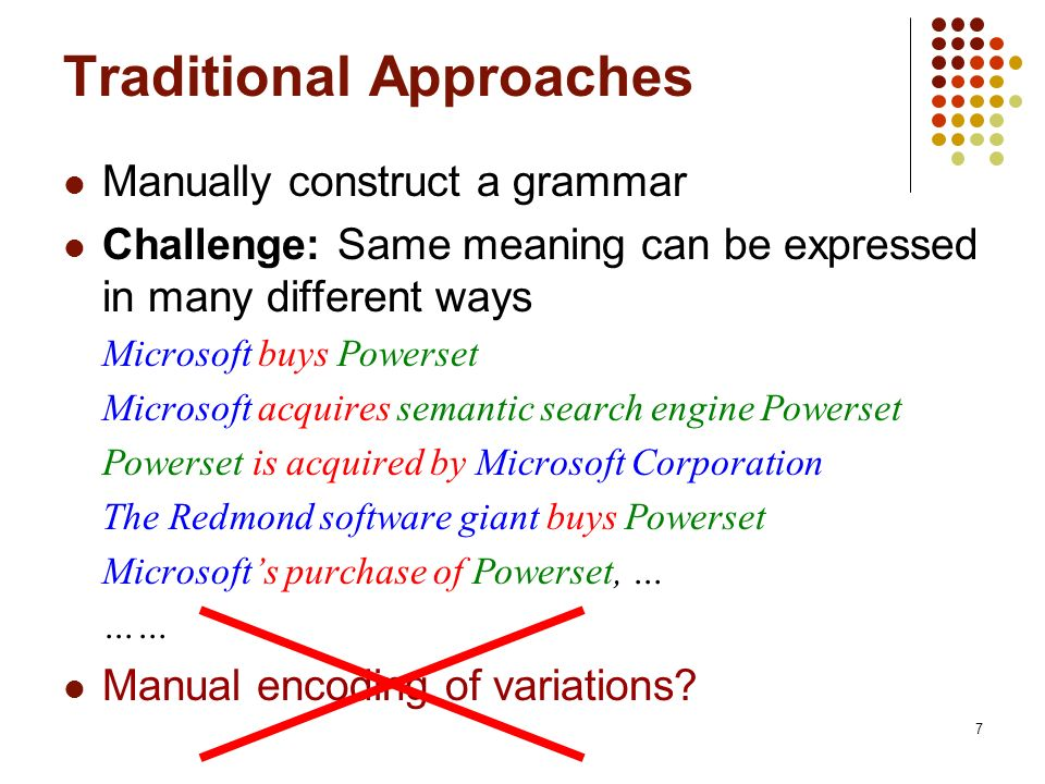 7 Traditional Approaches Manually construct a grammar Challenge: Same meaning can be expressed in many different ways Microsoft buys Powerset Microsof