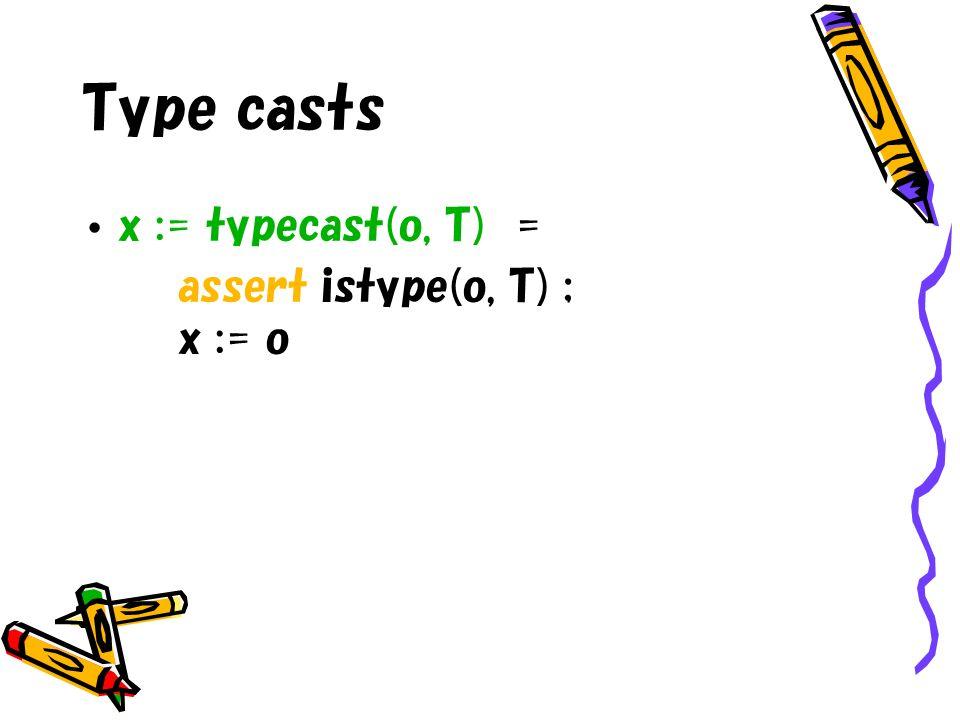 Type casts x := typecast(o, T) = assert istype(o, T) ; x := o