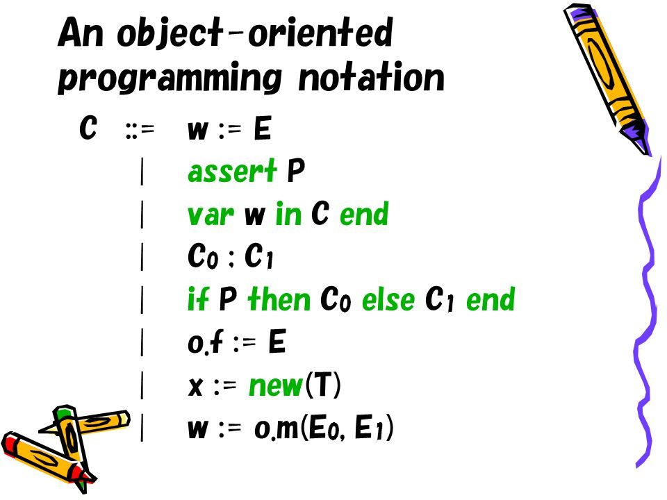 An object-oriented programming notation C::=w := E |assert P |var w in C end |C 0 ; C 1 |if P then C 0 else C 1 end |o.f := E |x := new(T) |w := o.m(E