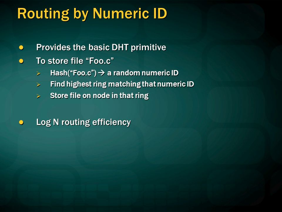 Routing by Numeric ID Provides the basic DHT primitive Provides the basic DHT primitive To store file Foo.c To store file Foo.c Hash(Foo.c) a random numeric ID Hash(Foo.c) a random numeric ID Find highest ring matching that numeric ID Find highest ring matching that numeric ID Store file on node in that ring Store file on node in that ring Log N routing efficiency Log N routing efficiency