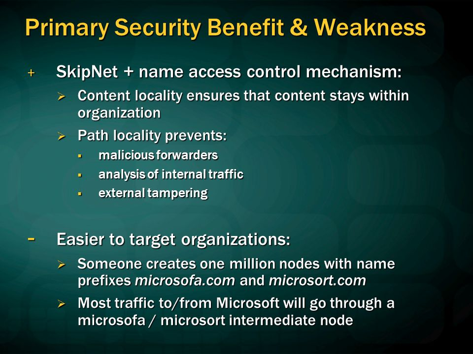 Primary Security Benefit & Weakness + SkipNet + name access control mechanism: Content locality ensures that content stays within organization Content locality ensures that content stays within organization Path locality prevents: Path locality prevents: malicious forwarders malicious forwarders analysis of internal traffic analysis of internal traffic external tampering external tampering - Easier to target organizations: Someone creates one million nodes with name prefixes microsofa.com and microsort.com Someone creates one million nodes with name prefixes microsofa.com and microsort.com Most traffic to/from Microsoft will go through a microsofa / microsort intermediate node Most traffic to/from Microsoft will go through a microsofa / microsort intermediate node
