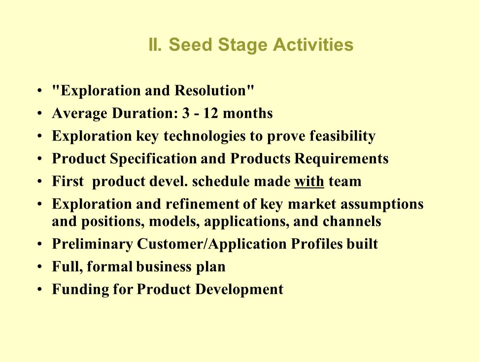 I. Concept Stage Flaws and Flags No clear articulation of vision or competition Faulty or non-existent business plan The vision constitutes research o