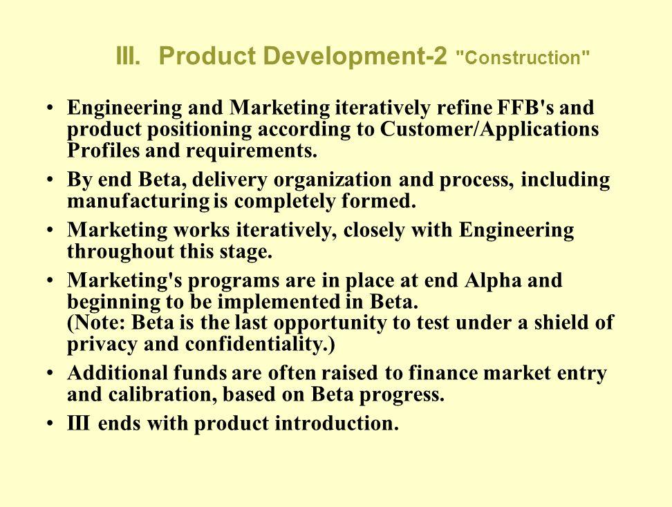 III. Product Development