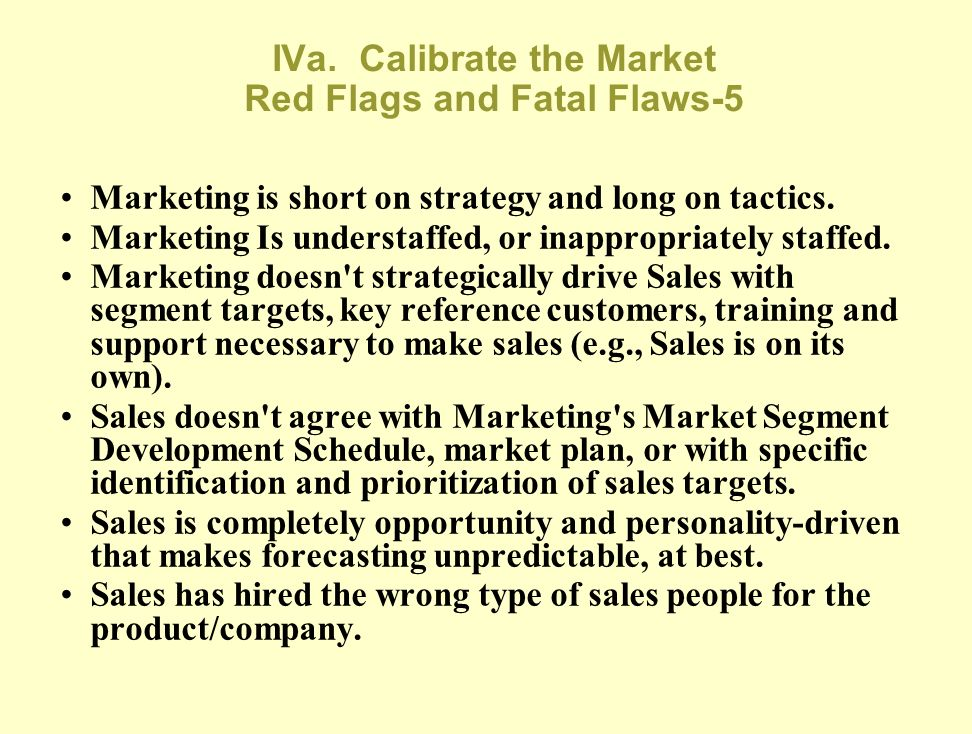 IVa. Calibrate the Market Red Flags and Fatal Flaws-4 Marketing and/or Sales' forecasts of lead time to sale per segment are off. Marketing has a comp