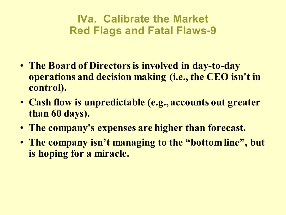 IVa. Calibrate the Market Red Flags and Fatal Flaws-8 The CEO isn't current on the issues across the departments and through exec staff MBOs. The CEO