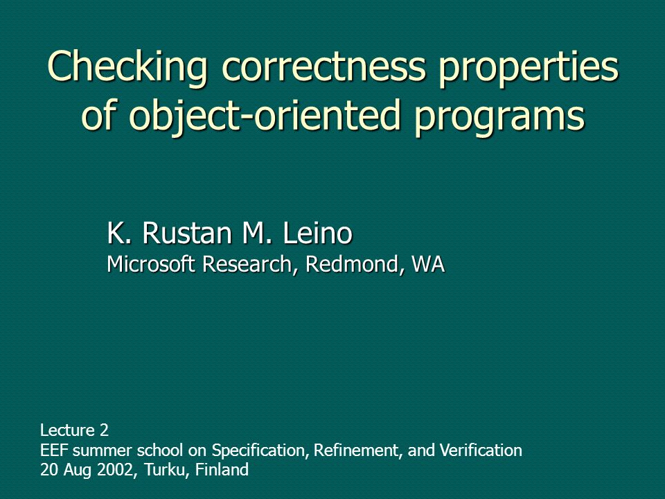 Checking correctness properties of object-oriented programs K.