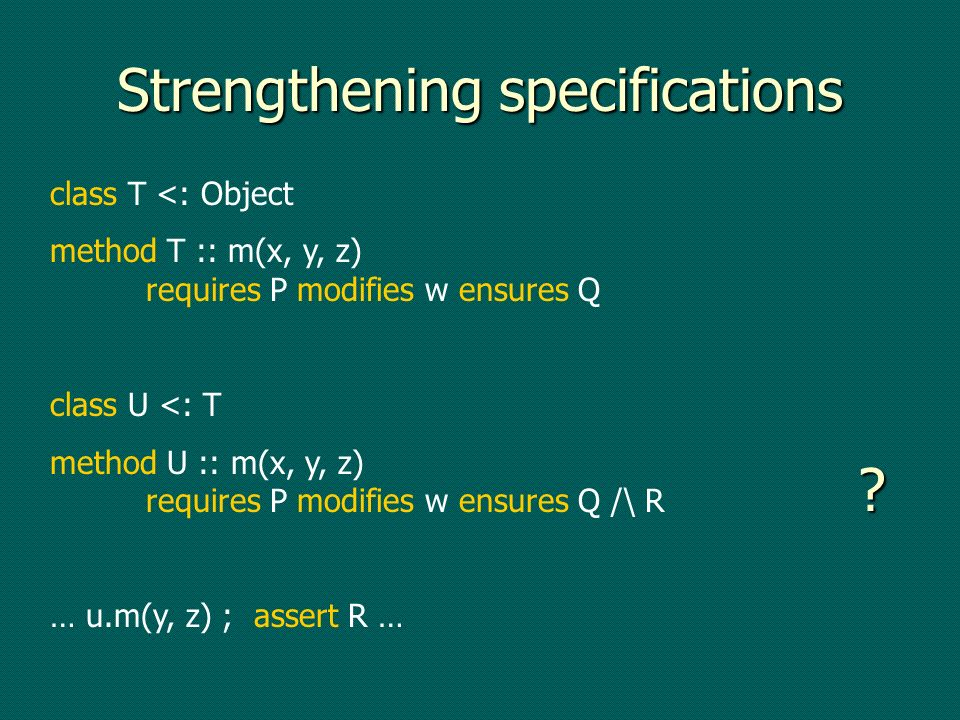 Strengthening specifications class T <: Object method T :: m(x, y, z) requires P modifies w ensures Q class U <: T method U :: m(x, y, z) requires P m