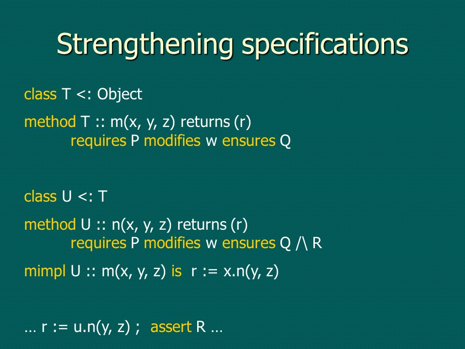 Strengthening specifications class T <: Object method T :: m(x, y, z) returns (r) requires P modifies w ensures Q class U <: T method U :: n(x, y, z) returns (r) requires P modifies w ensures Q /\ R mimpl U :: m(x, y, z) is r := x.n(y, z) … r := u.n(y, z) ; assert R …