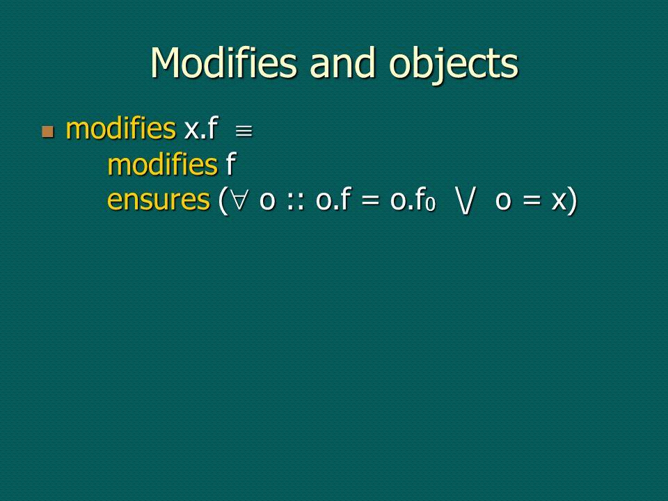 Modifies and objects modifies x.f modifies f ensures ( o :: o.f = o.f 0 \/ o = x) modifies x.f modifies f ensures ( o :: o.f = o.f 0 \/ o = x)