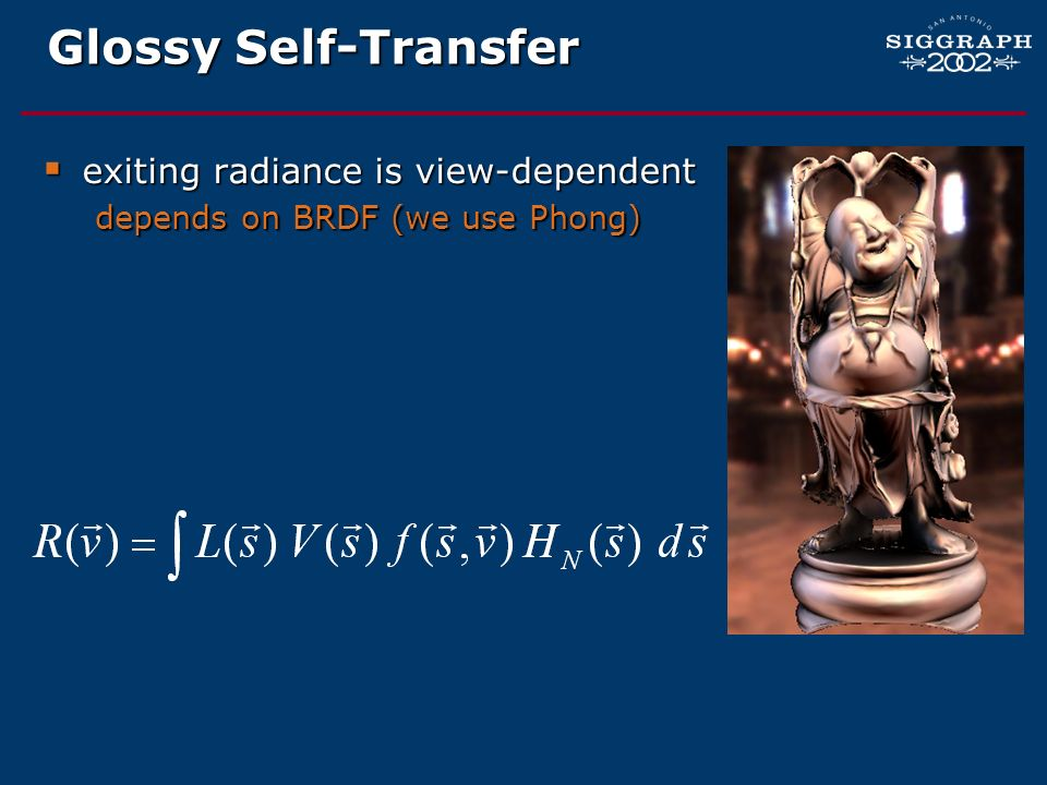 Glossy Self-Transfer exiting radiance is view-dependent exiting radiance is view-dependent depends on BRDF (we use Phong)