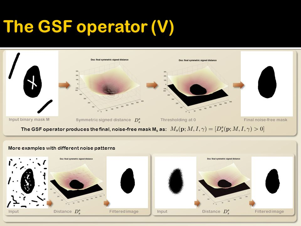 The GSF operator produces the final, noise-free mask M s as: Input binary mask M Symmetric signed distanceThresholding at 0Final noise-free mask More examples with different noise patterns Input Distance Filtered imageInput Distance Filtered image