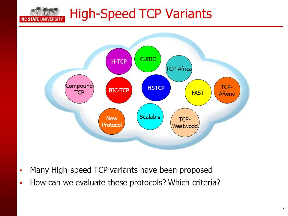 3 High-Speed TCP Variants Many High-speed TCP variants have been proposed How can we evaluate these protocols? Which criteria? BIC-TCP CUBIC HSTCP H-T