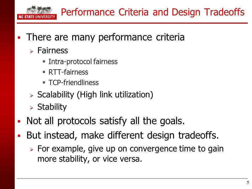 5 Performance Criteria and Design Tradeoffs There are many performance criteria Fairness Intra-protocol fairness RTT-fairness TCP-friendliness Scalabi