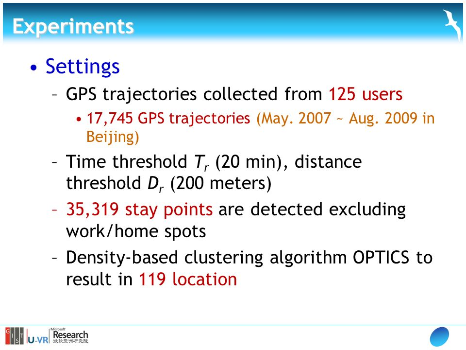 Experiments Settings –GPS trajectories collected from 125 users 17,745 GPS trajectories (May.