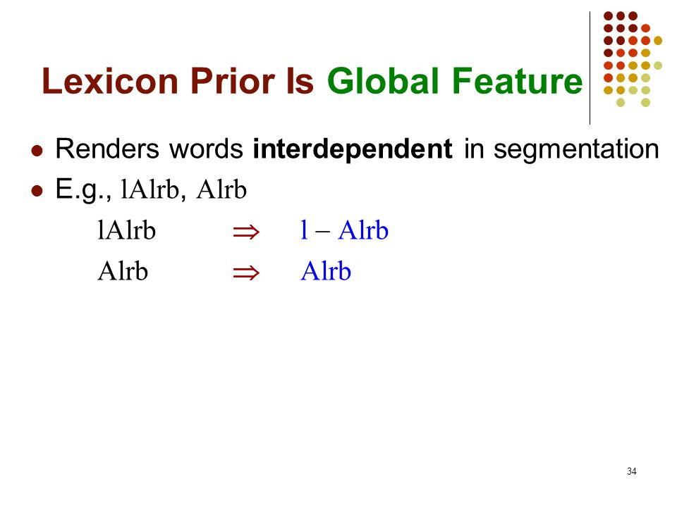 34 Lexicon Prior Is Global Feature Renders words interdependent in segmentation E.g., lAlrb, Alrb lAlrb l Alrb Alrb