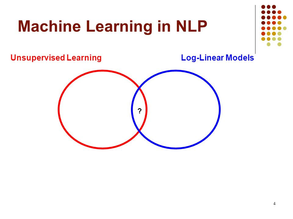 4 Machine Learning in NLP Unsupervised LearningLog-Linear Models