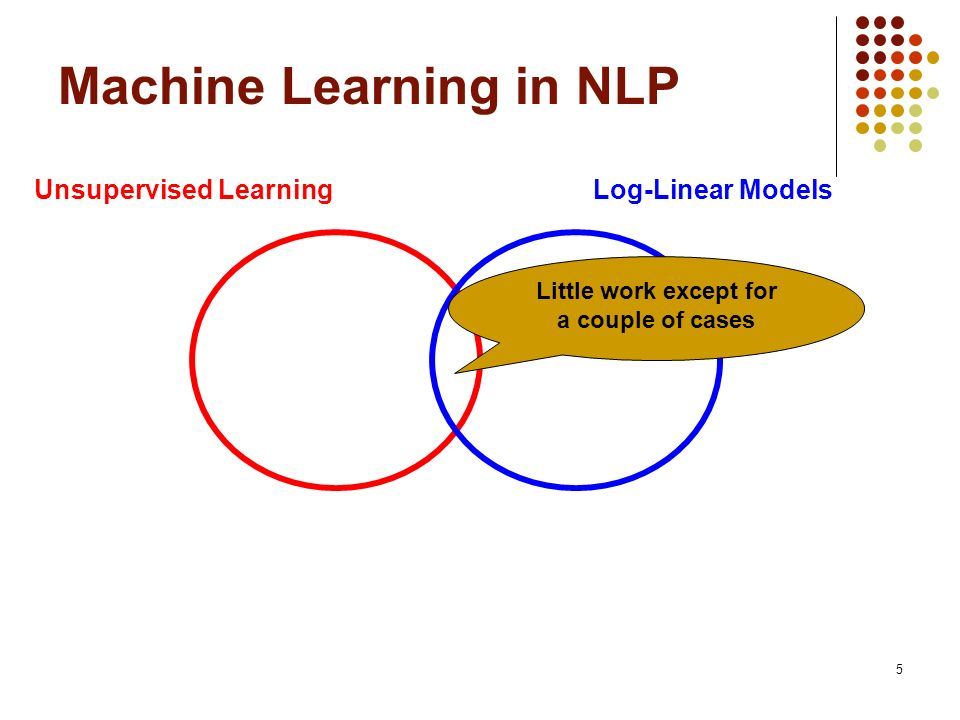 6 Machine Learning in NLP Unsupervised LearningLog-Linear Models Global Features ?