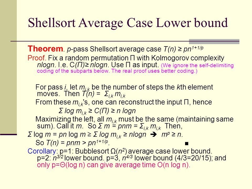 Shellsort Average Case Lower bound Theorem. p-pass Shellsort average case T(n) pn 1+1/p Proof. Fix a random permutation Π with Kolmogorov complexity n