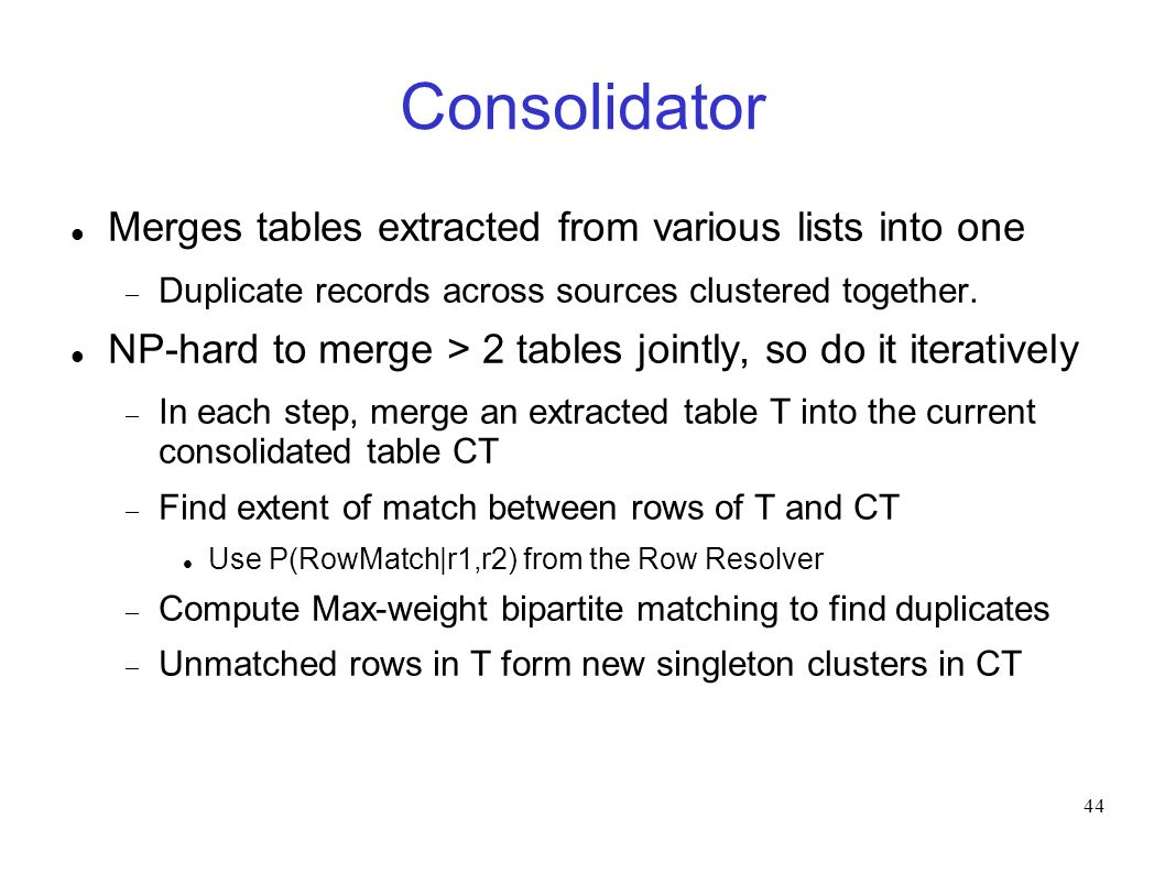44 Consolidator Merges tables extracted from various lists into one Duplicate records across sources clustered together.