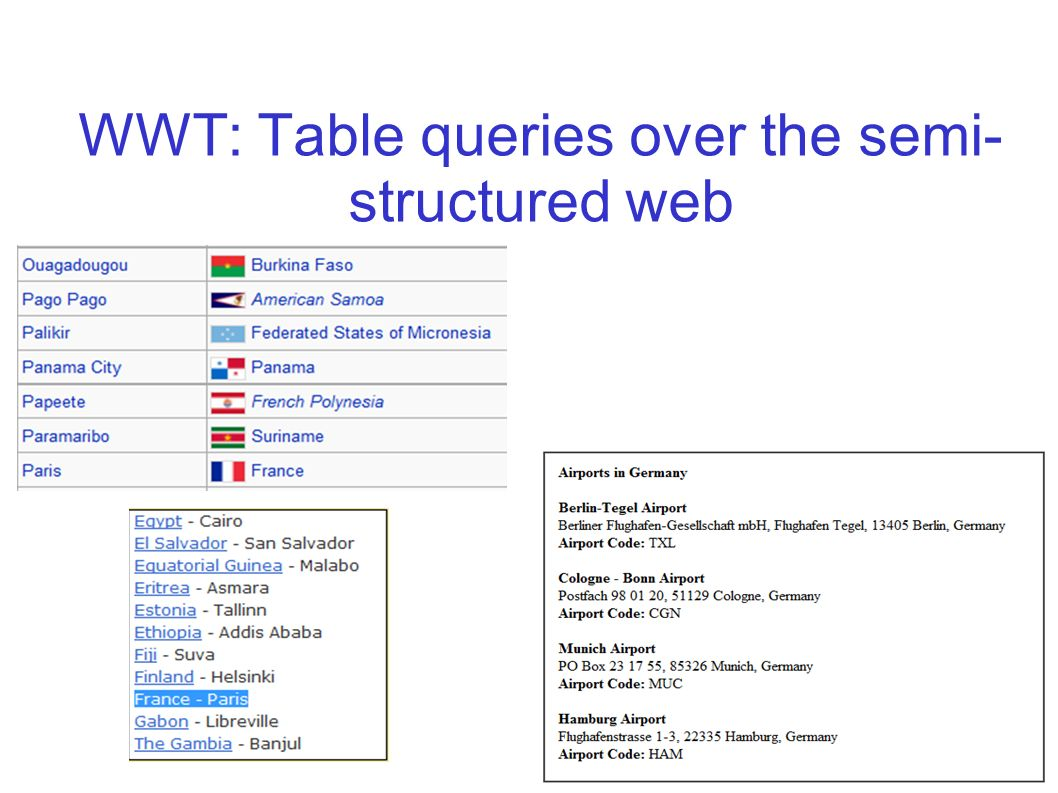 WWT: Table queries over the semi- structured web 9