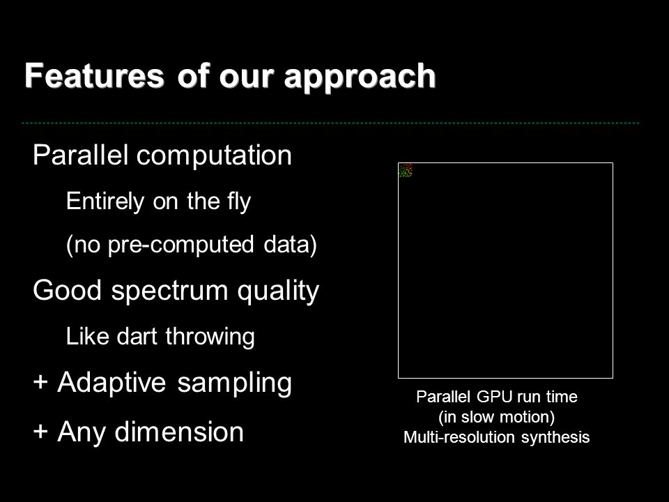 Features of our approach Parallel computation Entirely on the fly (no pre-computed data) Good spectrum quality Like dart throwing + Adaptive sampling