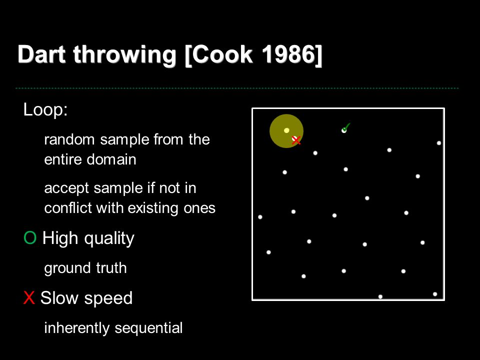 Dart throwing [Cook 1986] Loop: random sample from the entire domain accept sample if not in conflict with existing ones O High quality ground truth X