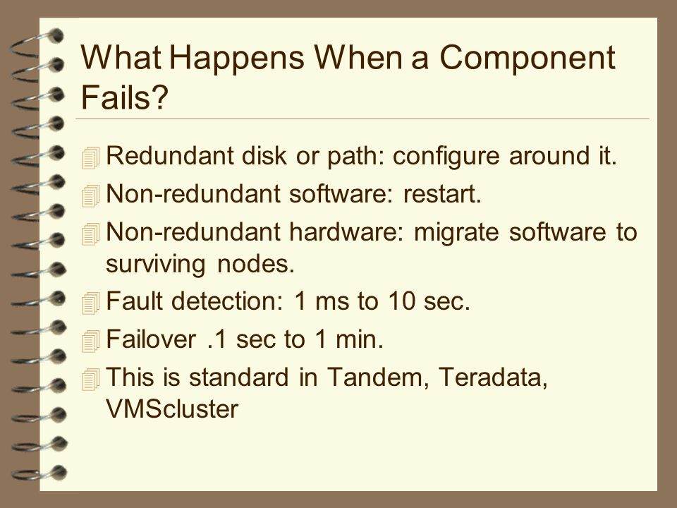 What Happens When a Component Fails. 4 Redundant disk or path: configure around it.