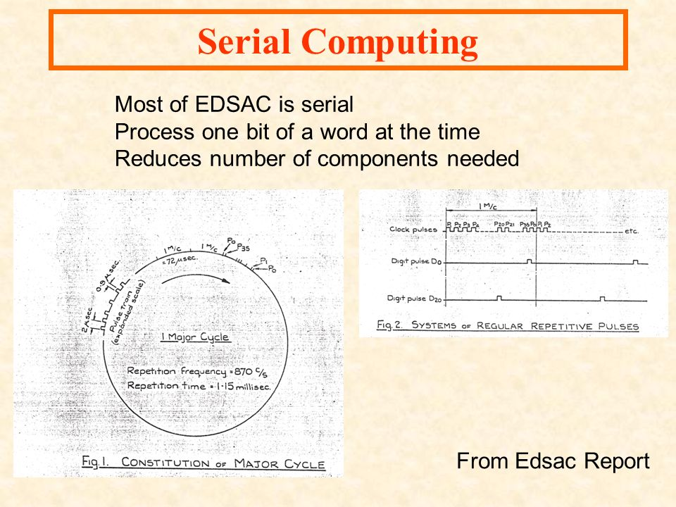 From Edsac Report Serial Computing Most of EDSAC is serial Process one bit of a word at the time Reduces number of components needed