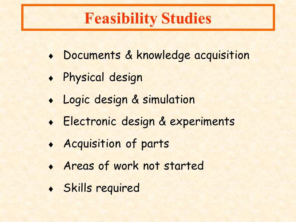 Feasibility Studies Documents & knowledge acquisition Physical design Logic design & simulation Electronic design & experiments Acquisition of parts A
