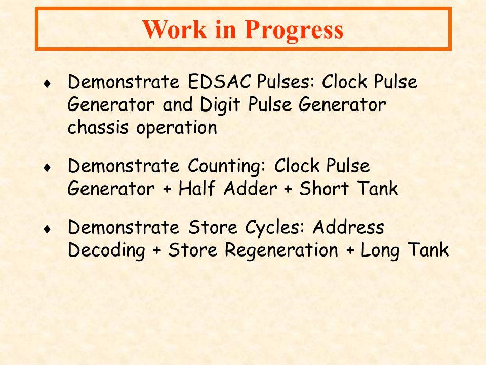 Work in Progress Demonstrate EDSAC Pulses: Clock Pulse Generator and Digit Pulse Generator chassis operation Demonstrate Counting: Clock Pulse Generat
