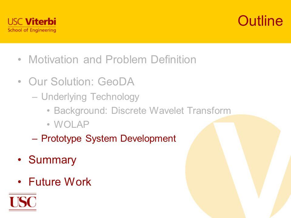Outline Motivation and Problem Definition Our Solution: GeoDA –Underlying Technology Background: Discrete Wavelet Transform WOLAP –Prototype System De