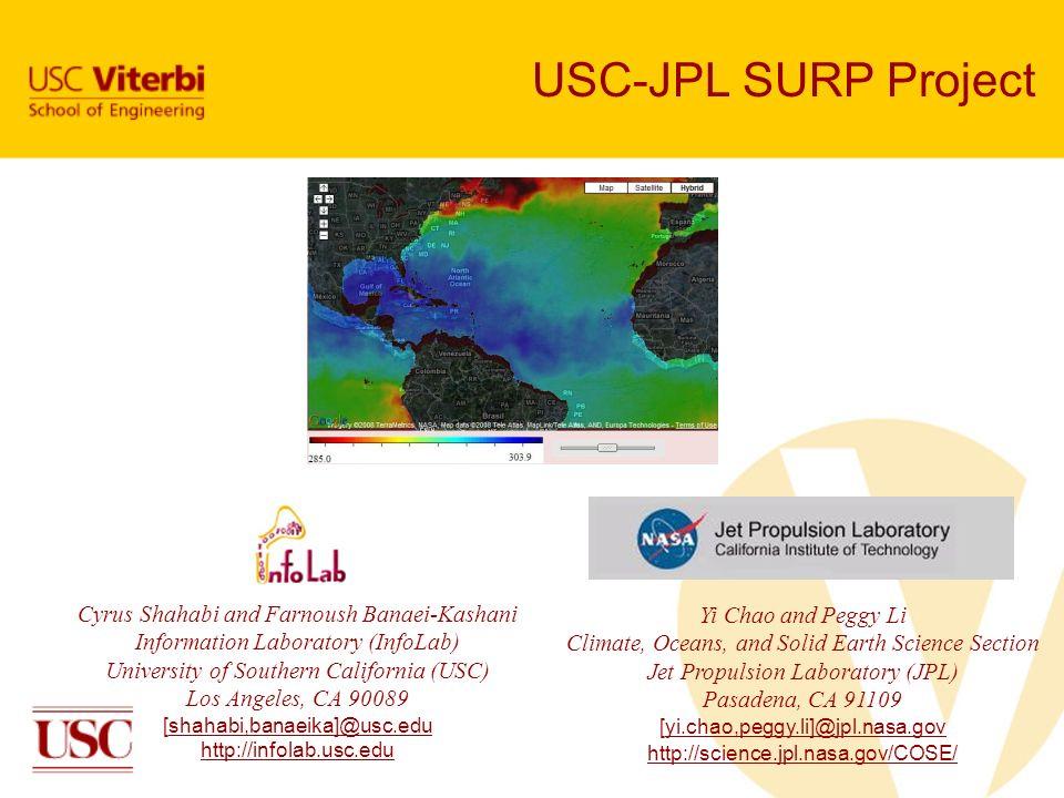 USC-JPL SURP Project Cyrus Shahabi and Farnoush Banaei-Kashani Information Laboratory (InfoLab) University of Southern California (USC) Los Angeles, C